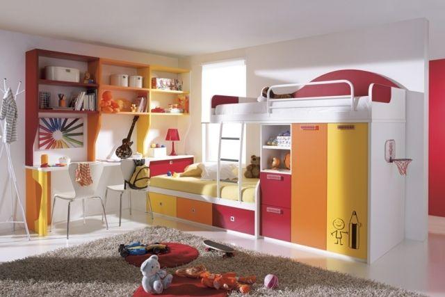 buntes Kinderzimmer einrichten orange rosa gelb Hochbett - schlafzimmer ideen orange