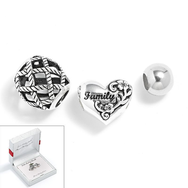 Individuality Beads Sterling Silver Family Heart Basket Weave And Er Bead Set Grey