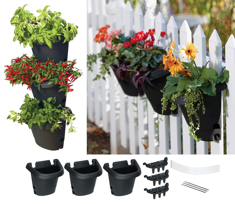 Bloem hanging garden planter system 3 pack black walmart