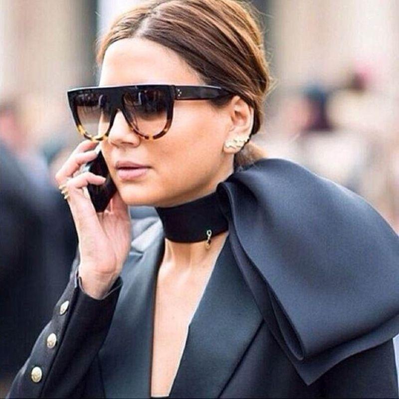 WINLA Zonnebril Mode Vrouwen Platte Top Oversize Shield Vorm Bril Merk Ontwerp Vintage zonnebril UV400 Vrouwelijke Klinknagel Shades