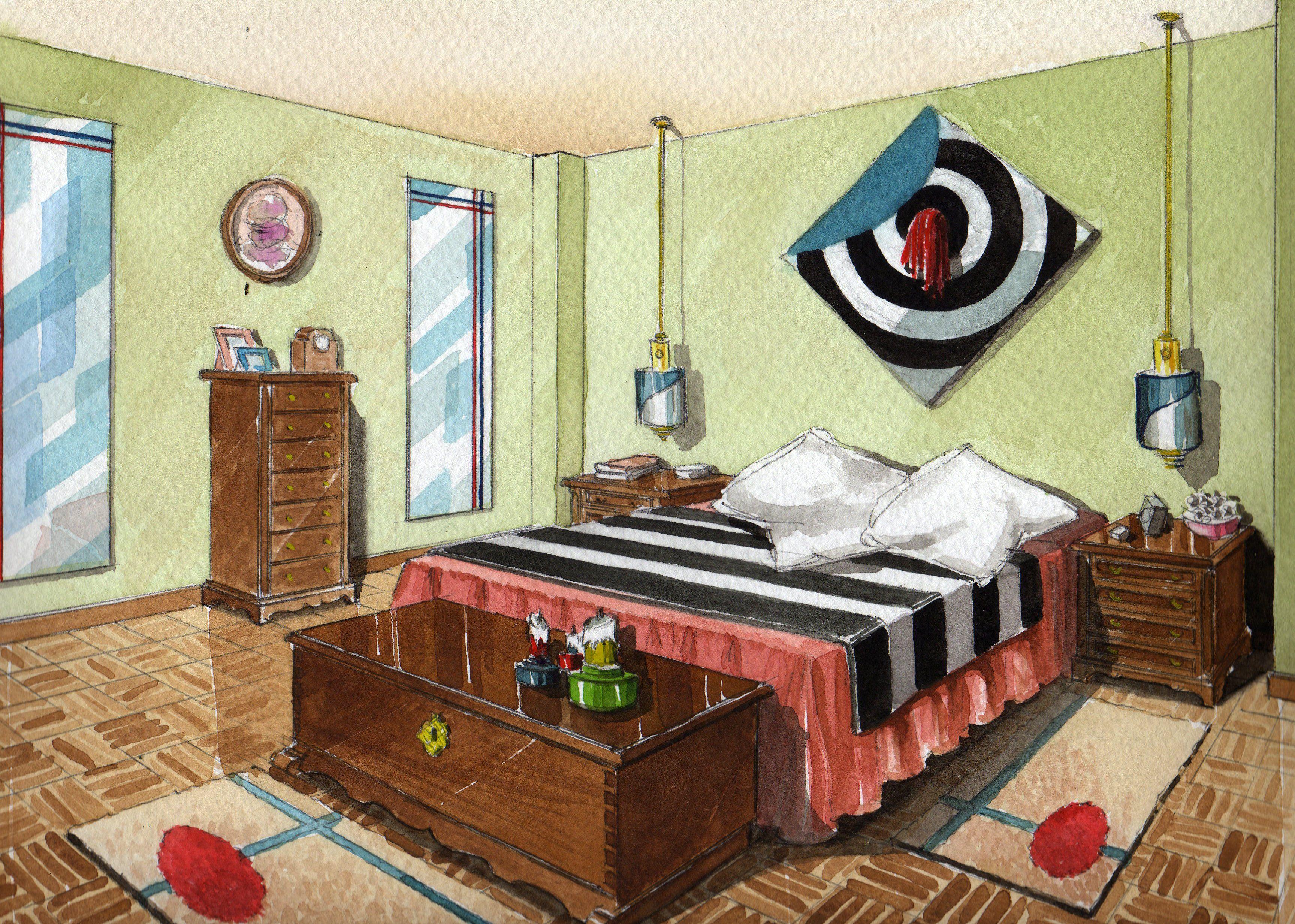 Ilustraci n acuarela decoraci n de interiores - Libros de decoracion de interiores ...