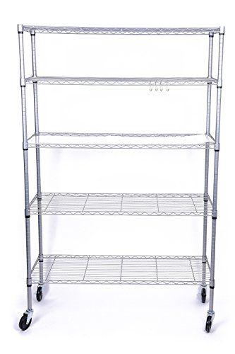Cheap J.S. Hanger 5-Tier Heavy Duty Storage Shelf Adjustable Wire ...