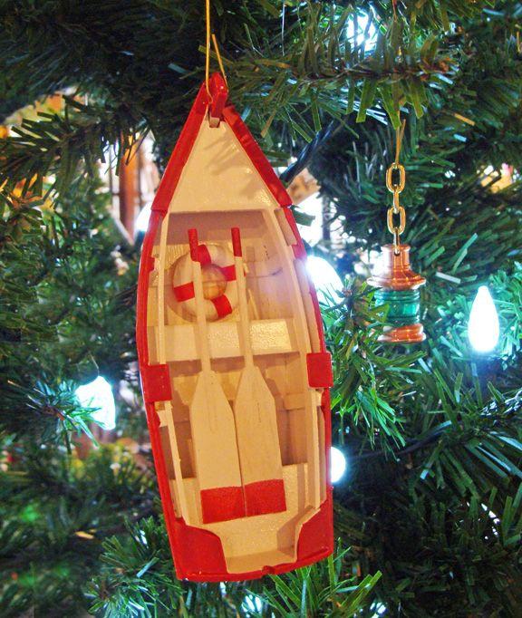 Wooden Dinghy Nautical Christmas Tree Ornament, Decor