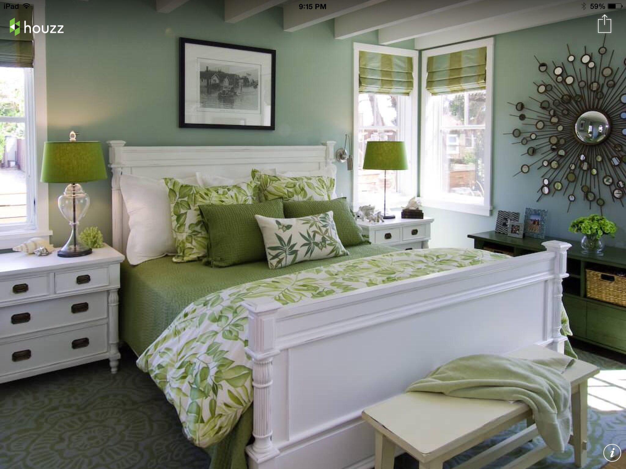 Habitaci n en verde y blanco ideas decoraci n for Ideas decoracion dormitorio matrimonio