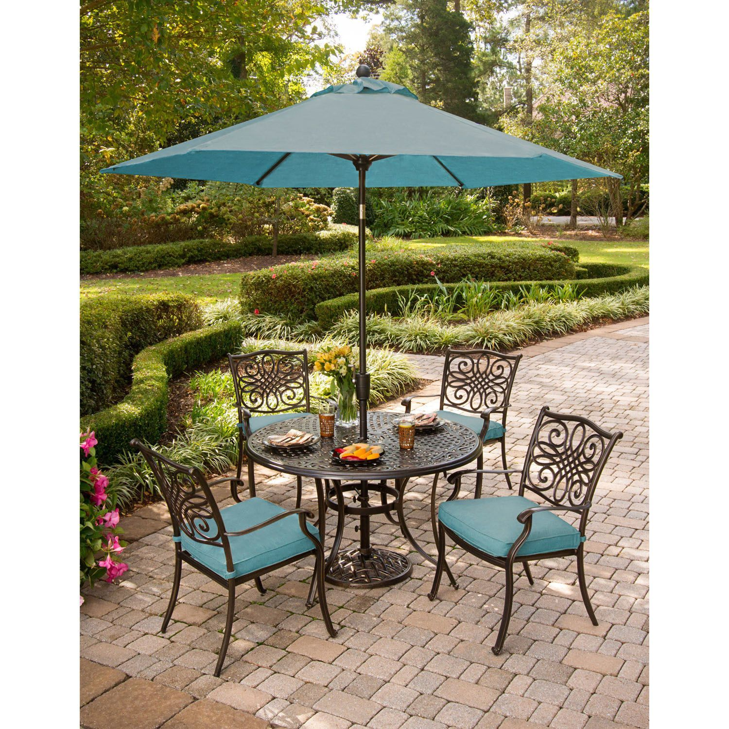Cambridge Seasons 5 Piece Dining Set With Table Umbrella And Stand Blue Size Sets Patio Furniture Aluminum