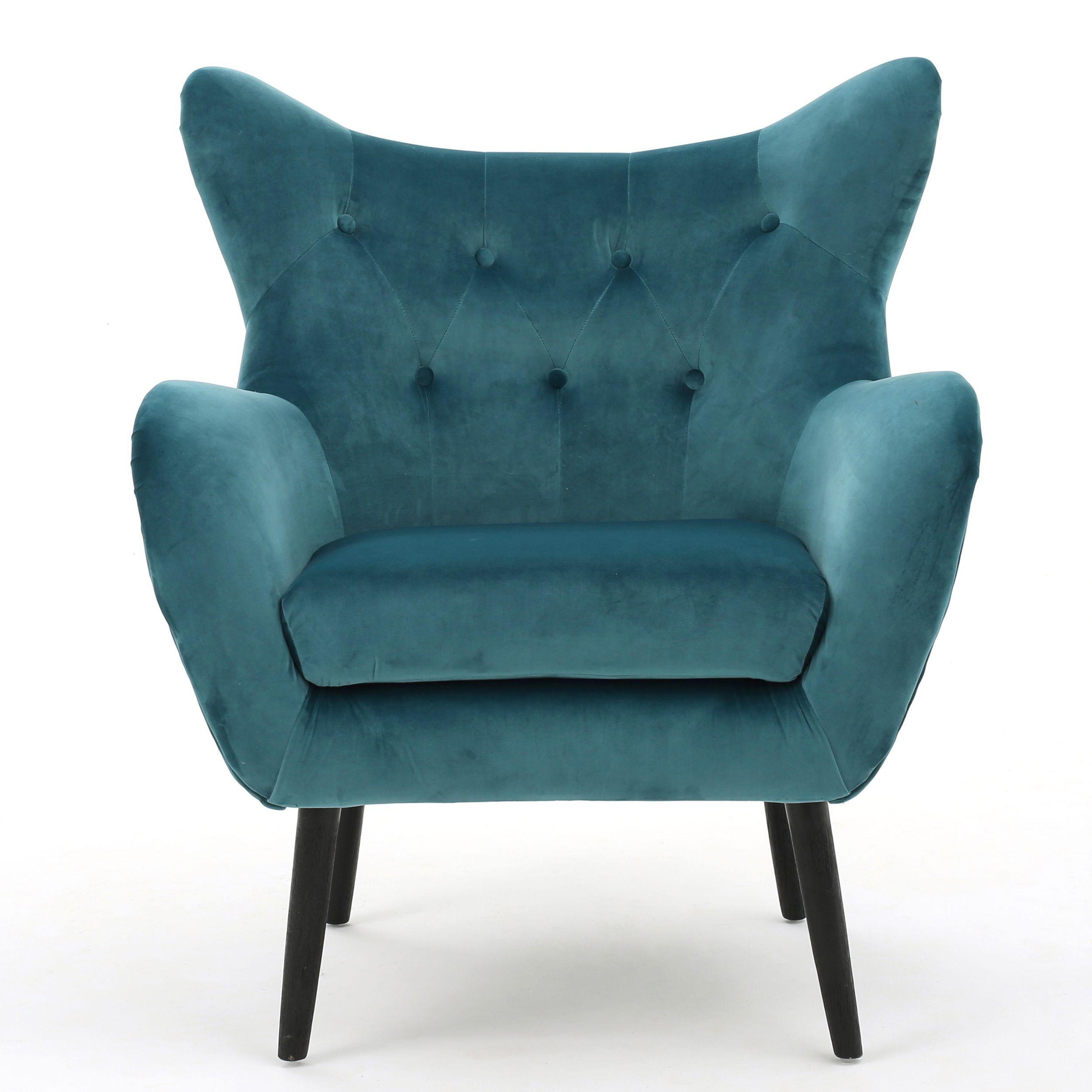 Alyssa Velvet Arm Mid century Style Chair by Christopher Knight