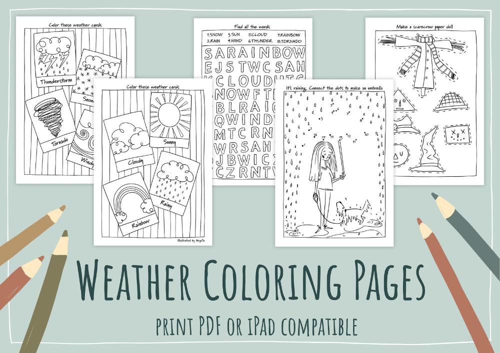 Weather Coloring Pages Pdf Digital Instant Download Print Etsy In 2020 Coloring Pages Online Printing Companies Art Wall Kids