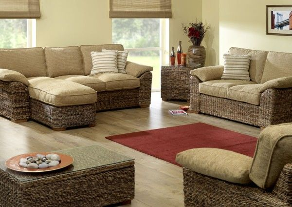 Decoration Exciting Banana Leaf Furniture In Small Living Room Design Ideas With Tan Color Fabric Pillow And Wicker Rattan Sofa Featuring Gl Top