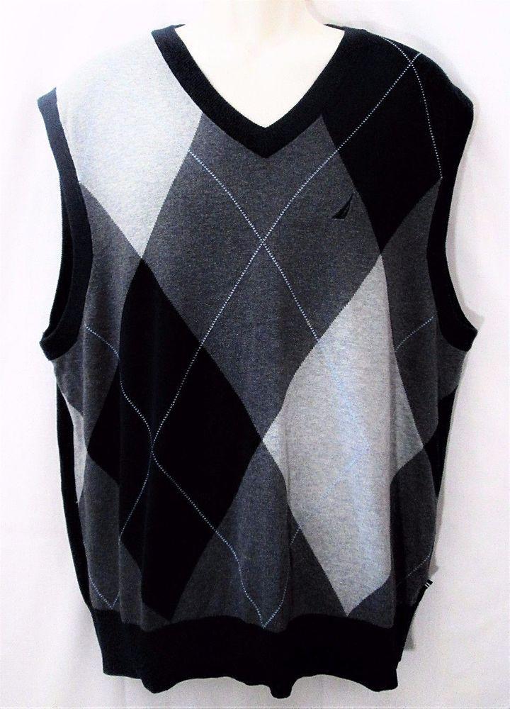 NAUTICA Mens VEST Size XL Lightweight Cotton Argyle Checkered ...