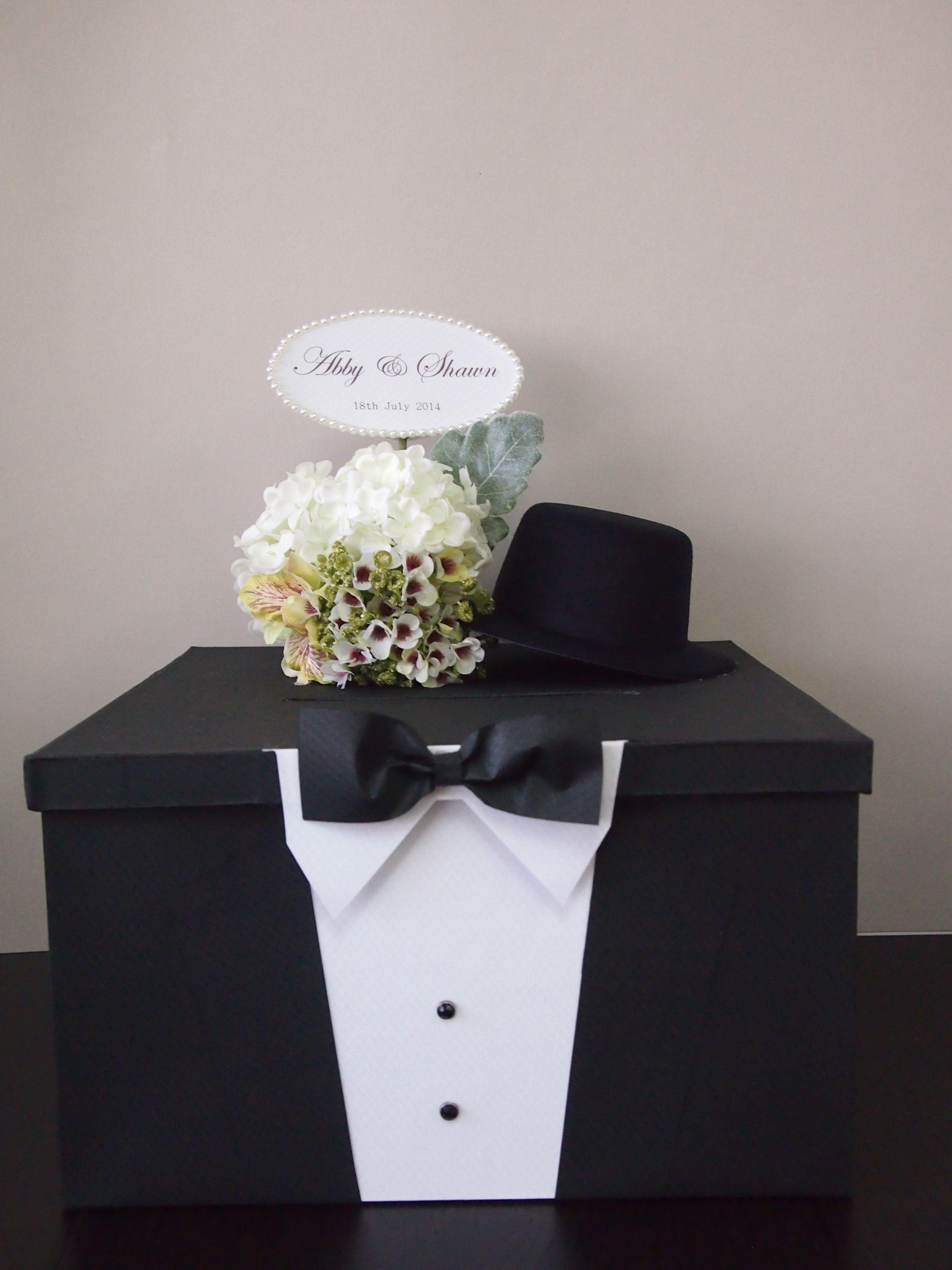 Satin wedding card box with royal blue flower and rhinestone mesh trim - Pegeo Wedding Money Gift Cards Box Set For Groom