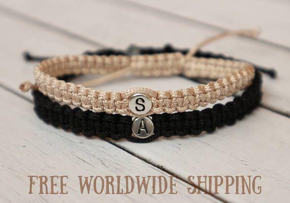 Set Of Initials Bracelet Couples Bracelet Knotted Bracelet