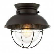 Trade Winds 1-Light Industrial Flush Mount in Oil Rubbed Bronze
