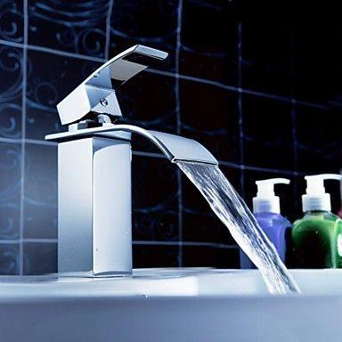 bagno rubinetto cascata lavello con pop-up rifiuti (con finitura cromata)