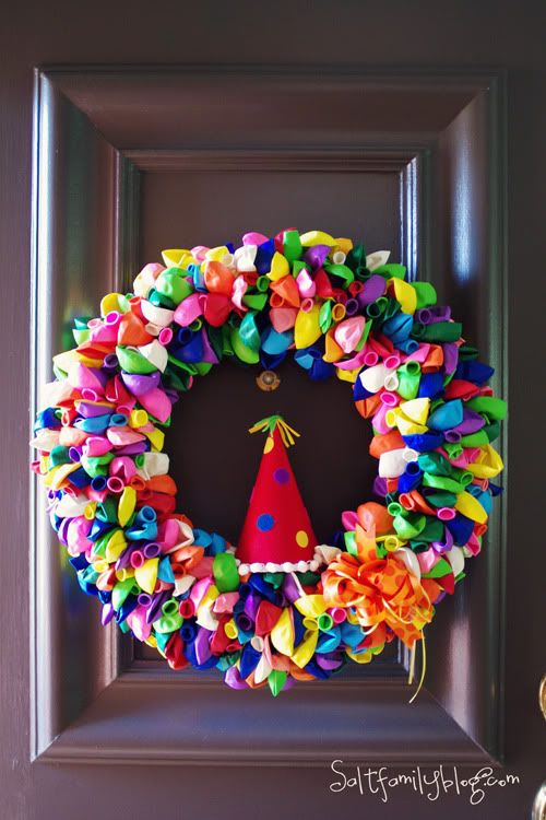 """313 Balloons, Greening Pins and an 18"""" Styrofoam wreath.  Easy peasy.  Instructions taken from the """"How Does She"""" blog."""