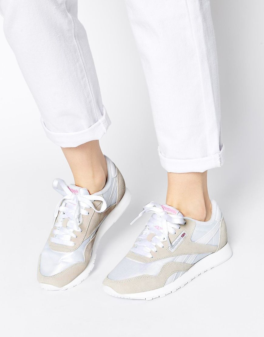 Image 1 of Reebok Classic Nylon White & Gray Sneakers