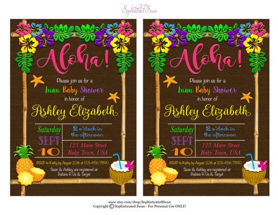 Luau Baby Shower Invitation Aloha Baby Shower Por