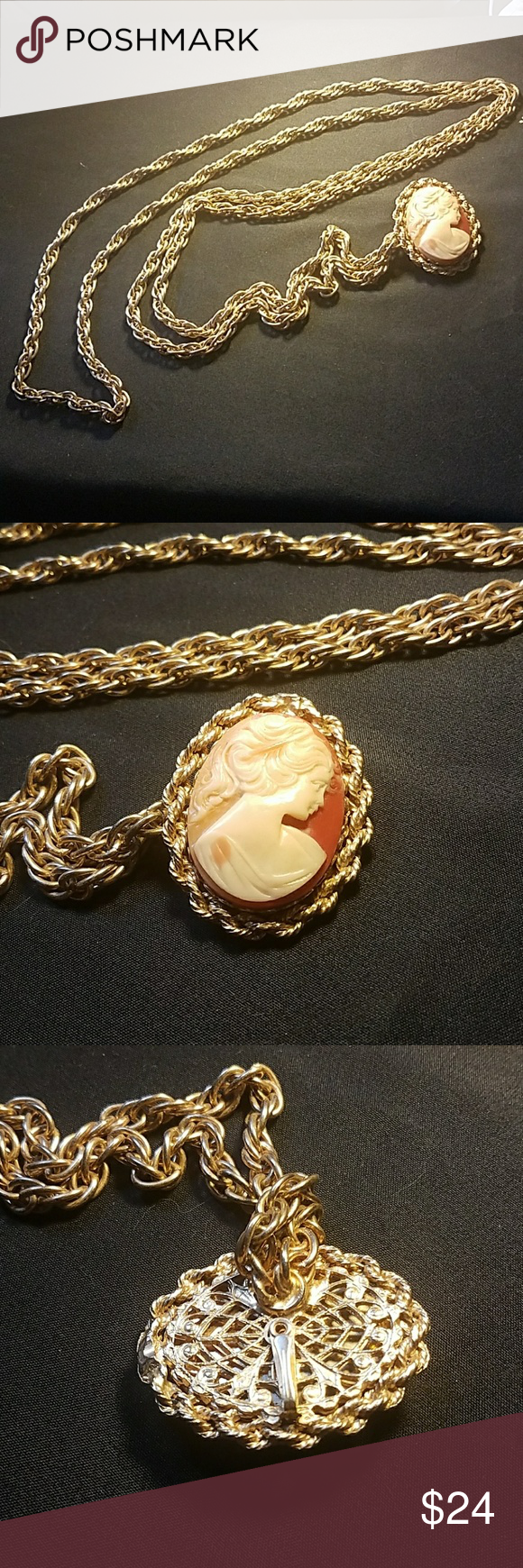 Vintage Cameo Necklace with Long Gold Chain Another beautiful item ...