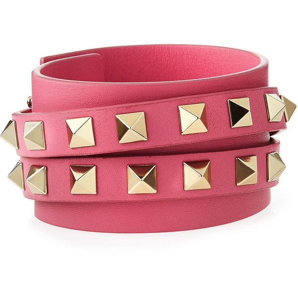 b66a6ce30bae Valentino Rockstud Leather Wrap Bracelet ( 365) ❤ liked on Polyvore  featuring jewelry