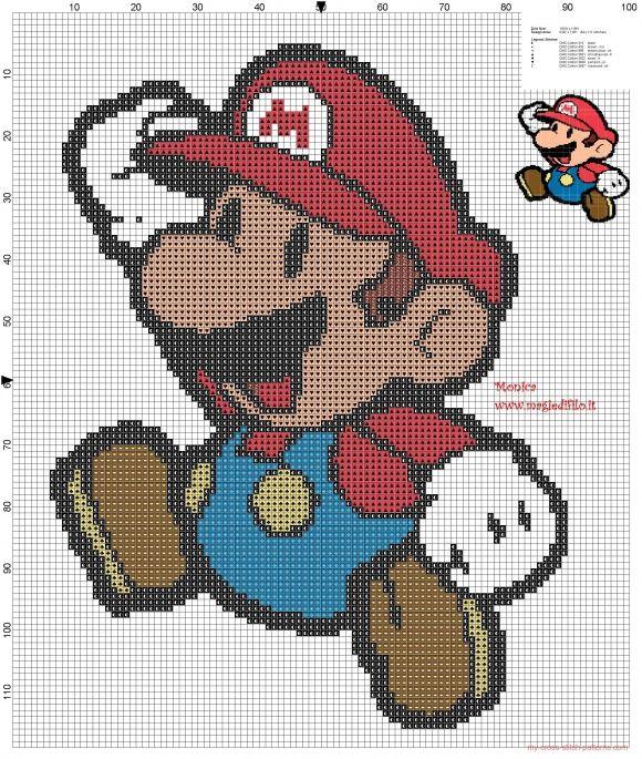 Mario Bross - Patrón gratuito   Punto de cruz   Pinterest   Mario ...