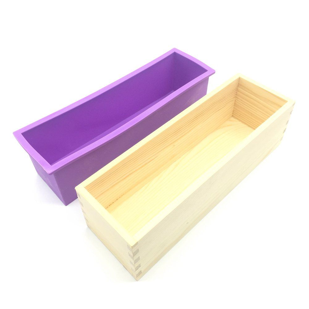 Otrmax Flexible Rectangular Soap Loaf Silicone Mold With Wood Box For Diy Homemade Cake