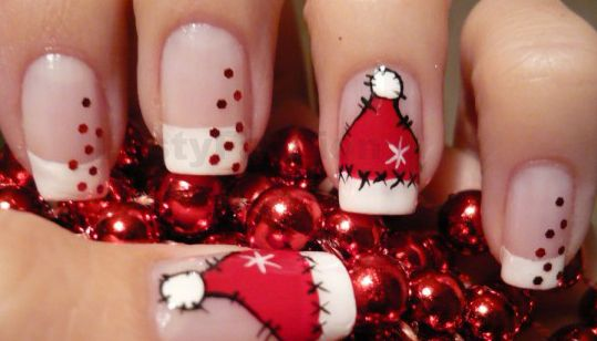 50 Amazing and Easy Christmas Nail Designs and Nail Arts. Santa Hat ... - 50 Amazing And Easy Christmas Nail Designs And Nail Arts Christmas