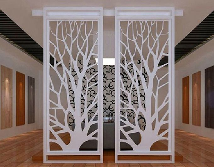 Pvc Wood Plastic Plate Partitions Carved Openwork Plate Through Flower Ceiling Entrance Partition Wall Tv Screen Style In 2019 Diy Room Divider