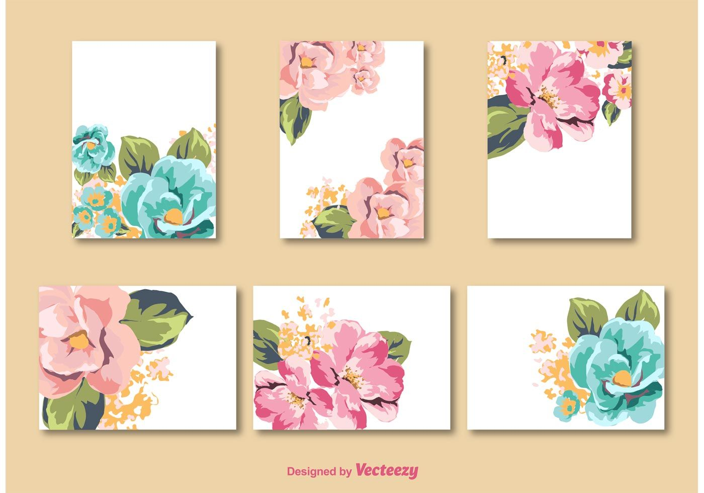 Flower Card Vector Templates Free Vector Art Flower Cards