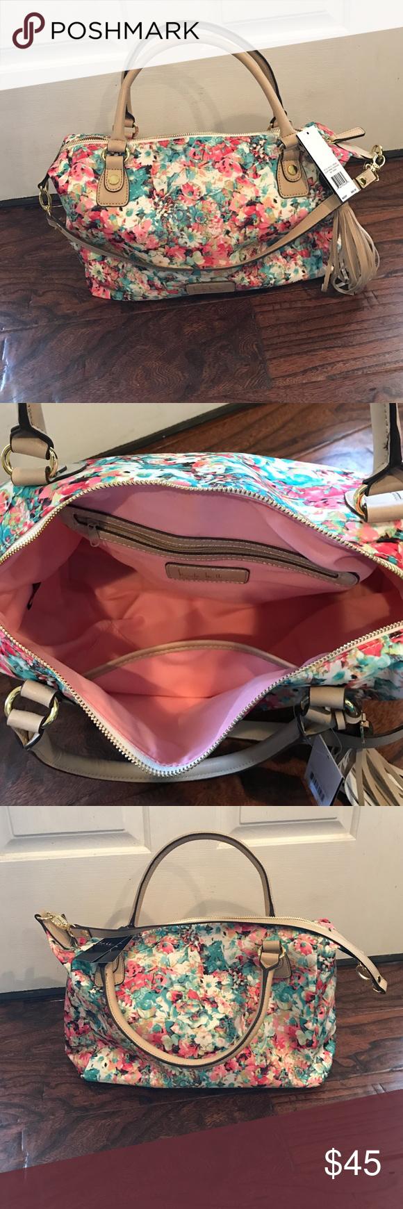 Nicole Miller floral handbag Floral handbags, Handbag