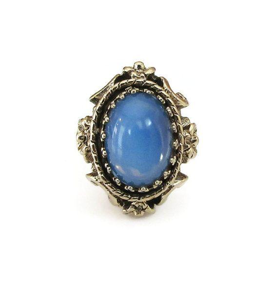 Vintage 18K HGE Blue Glass Ring  Hard Gold by zephyrvintage