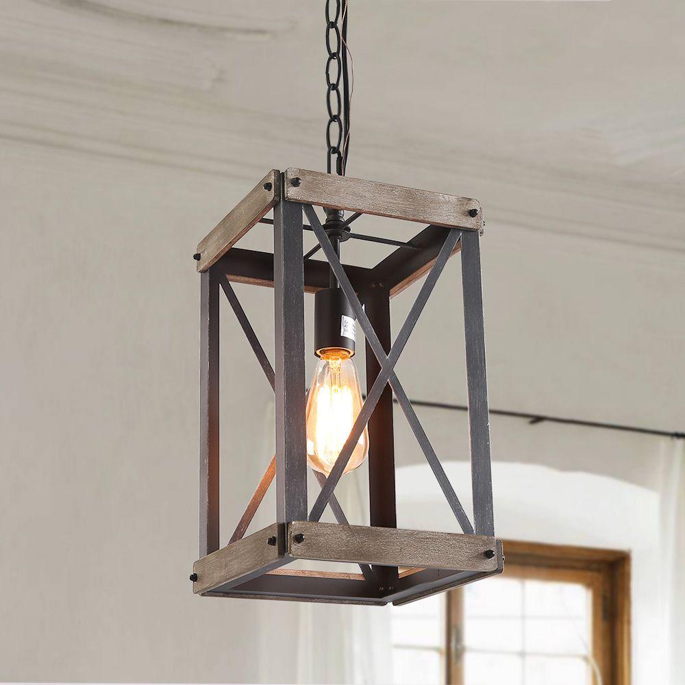 Square Wooden Pendant Light In 2020 Foyer Pendant Lighting Wooden Pendant Lighting Rustic Pendant Lighting