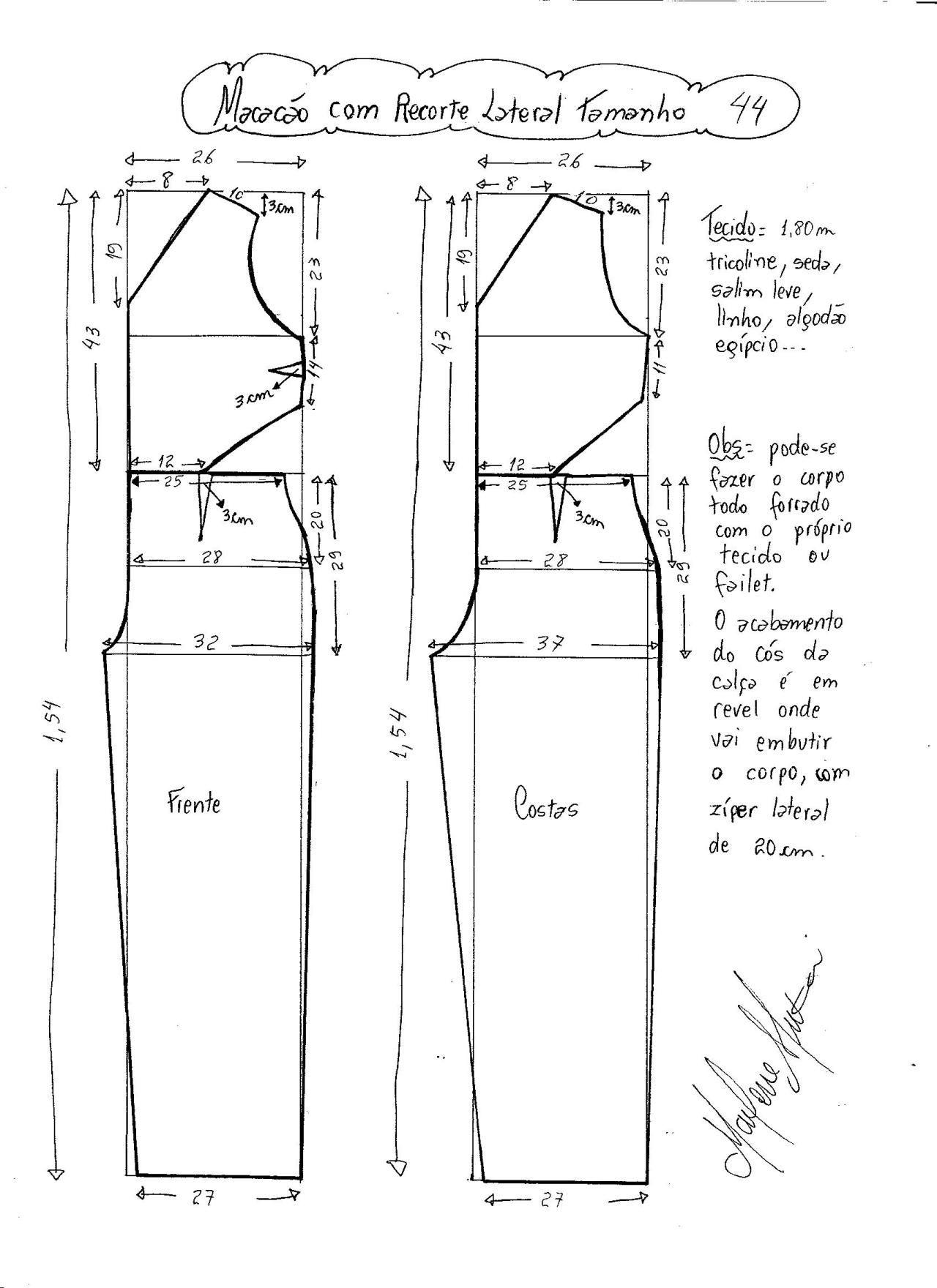 Patrón de Mono largo con abertura lateral   moldes moda
