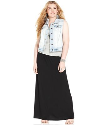 55e33253ff Macy's American Rag Plus Size Denim Racerback Vest & Maxi Skirt ...