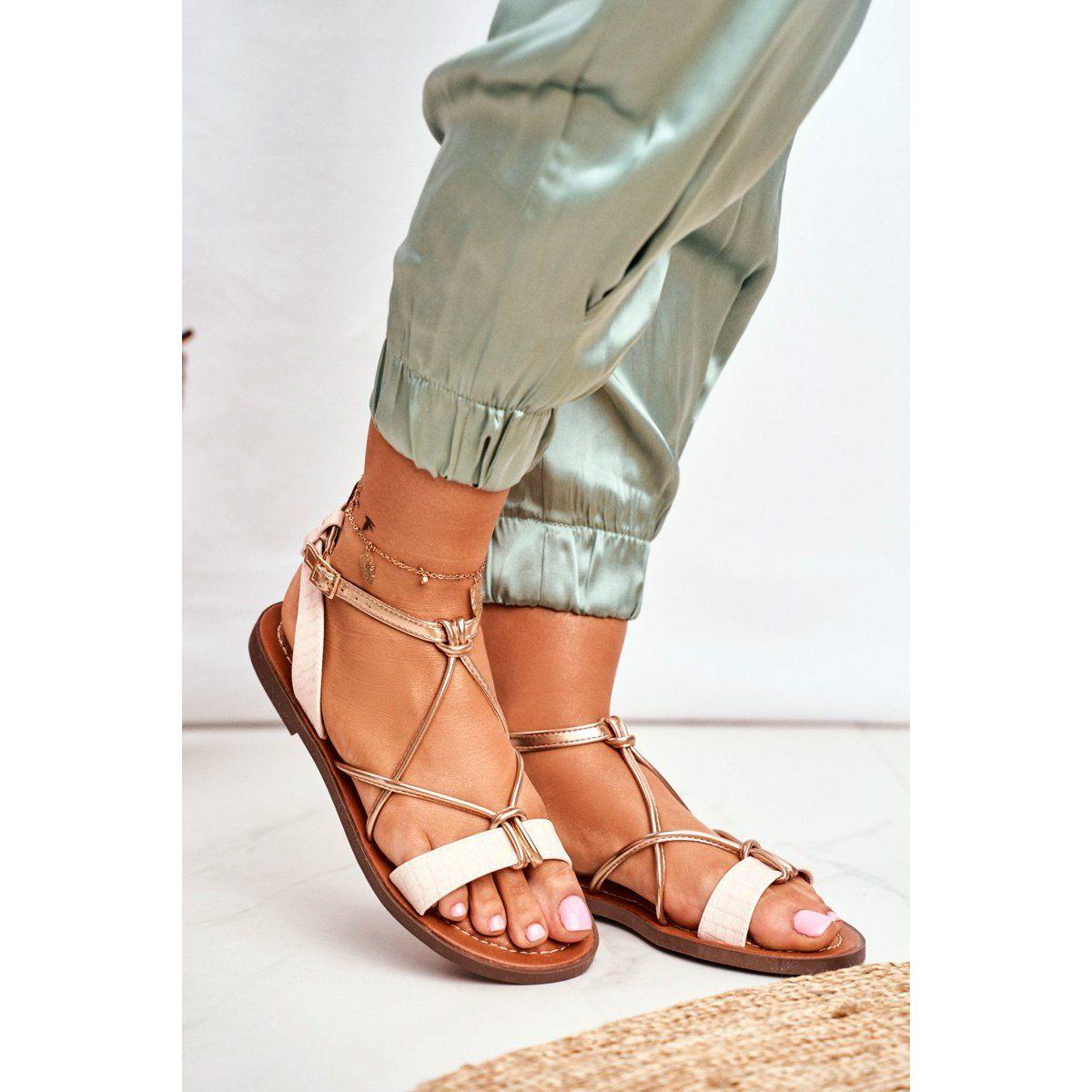 Ady Sandaly Damskie Plaskie Rozowe Alison In 2020 Lace Up Shoes Fashion