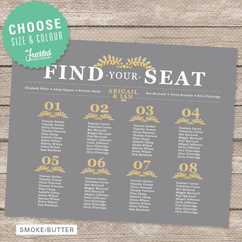 Wedding Seating Chart - Printable PDF - Vintage Botanical - printable seating charts