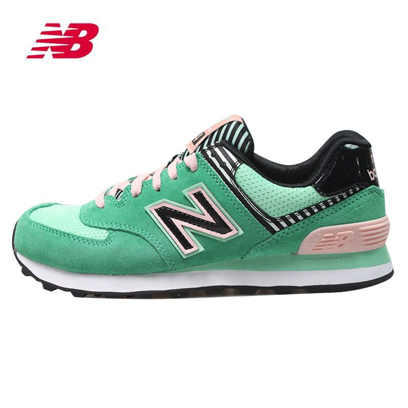 NEW BALANCE CLASSIC SUEDE GREEN PINK BLACK STRIPE WL574BFS   New ... 156c9837ee6e