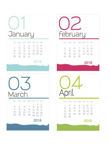 Free printable calendar | 2017 and 2018 versions available