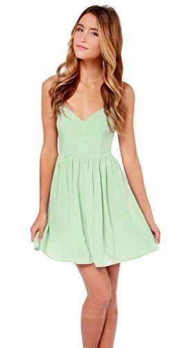 Lovaru Women's Summer Fashion Sexy Mint Green Sleeveless Backless Chiffon Mini Bandage Dress