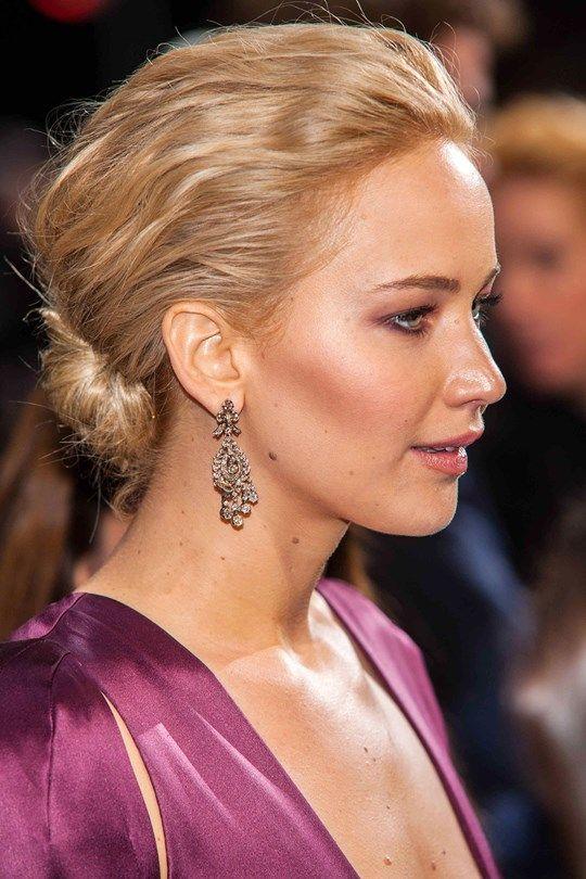 Red Carpet Hairstyle Beutiful Updo Jennifer Lawrence Celebrity
