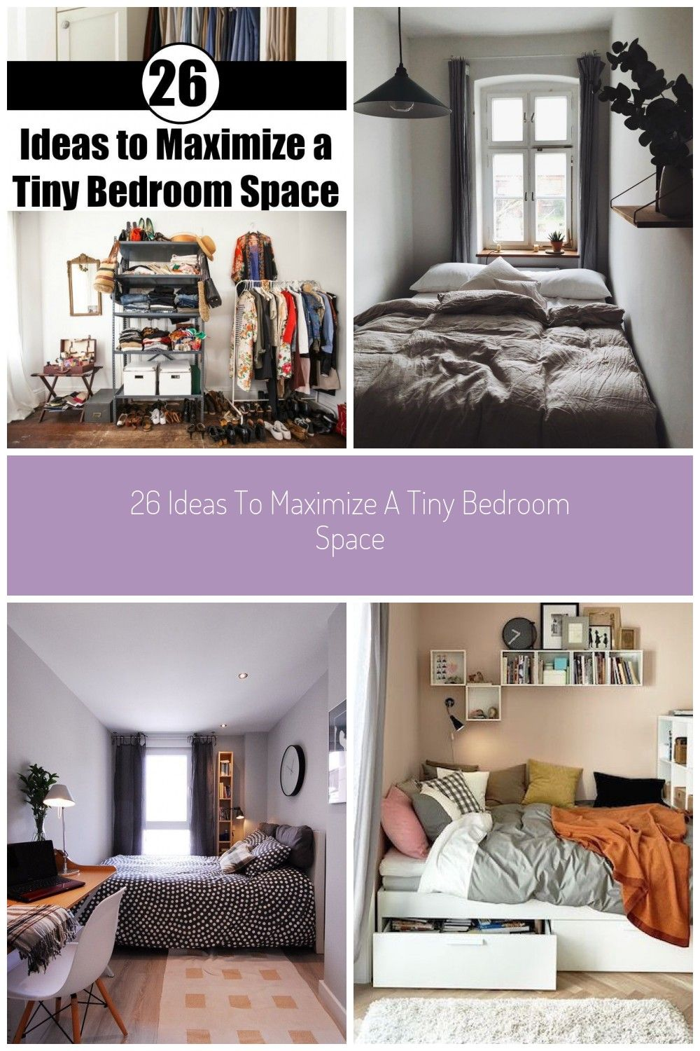 9 Ideas to Maximize a Tiny Bedroom Space #tiny bedroom 9 Ideas