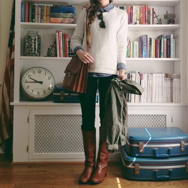 chambray / cream / brown boots / denim / utility // perfect fall layers