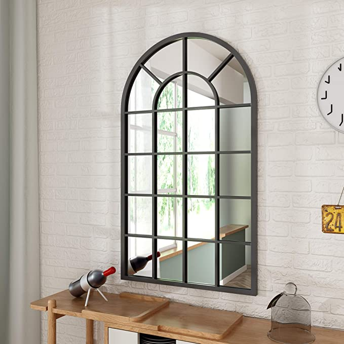 Prohomeware Black Arched Window Bathroom Mirrors Large Metal Frame 26x43 In Double Modern Vanit Black Bathroom Mirrors Mirror Decor Modern Vanity