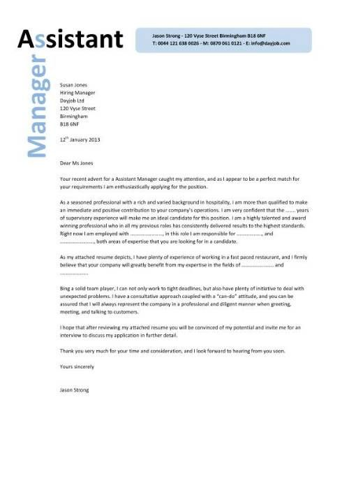 sales catering manager cover letter