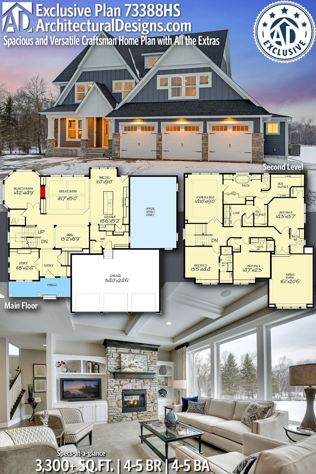 Plan 73388hs Spacious And Versatile Craftsman Home Plan With All The Extras Craftsman House Plans House Plans Craftsman House