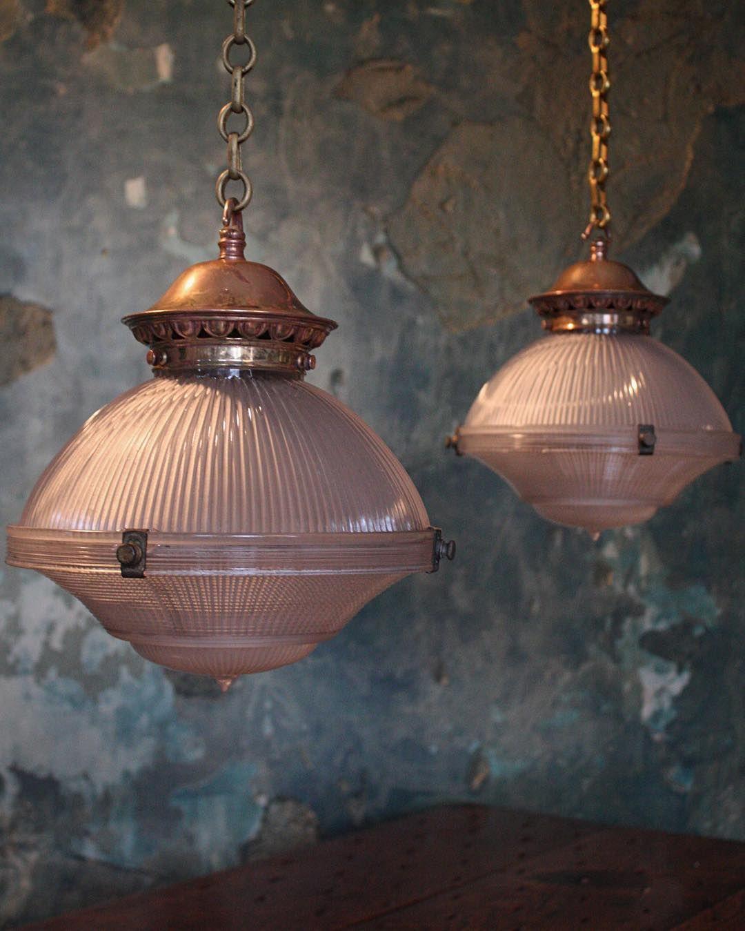 Pair of three part prismatic Holophane pendants #holophane #lighting #interior #decorative # & Pair of three part prismatic Holophane pendants #holophane #lighting ...