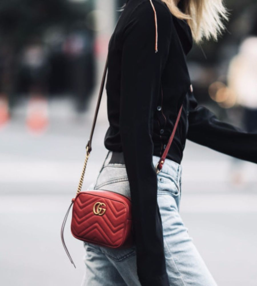82c04fe79 GG Marmont Matelasse Mini Bag at The Spicy Stiletto Store | Lookave - Bag -  Red Bag - Mini Bag - Crossbody Bag - Shirt - Denim