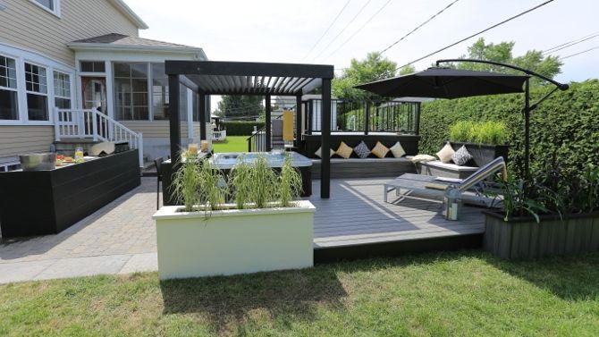am nagement ext rieur autour d 39 un spa lounge salon. Black Bedroom Furniture Sets. Home Design Ideas