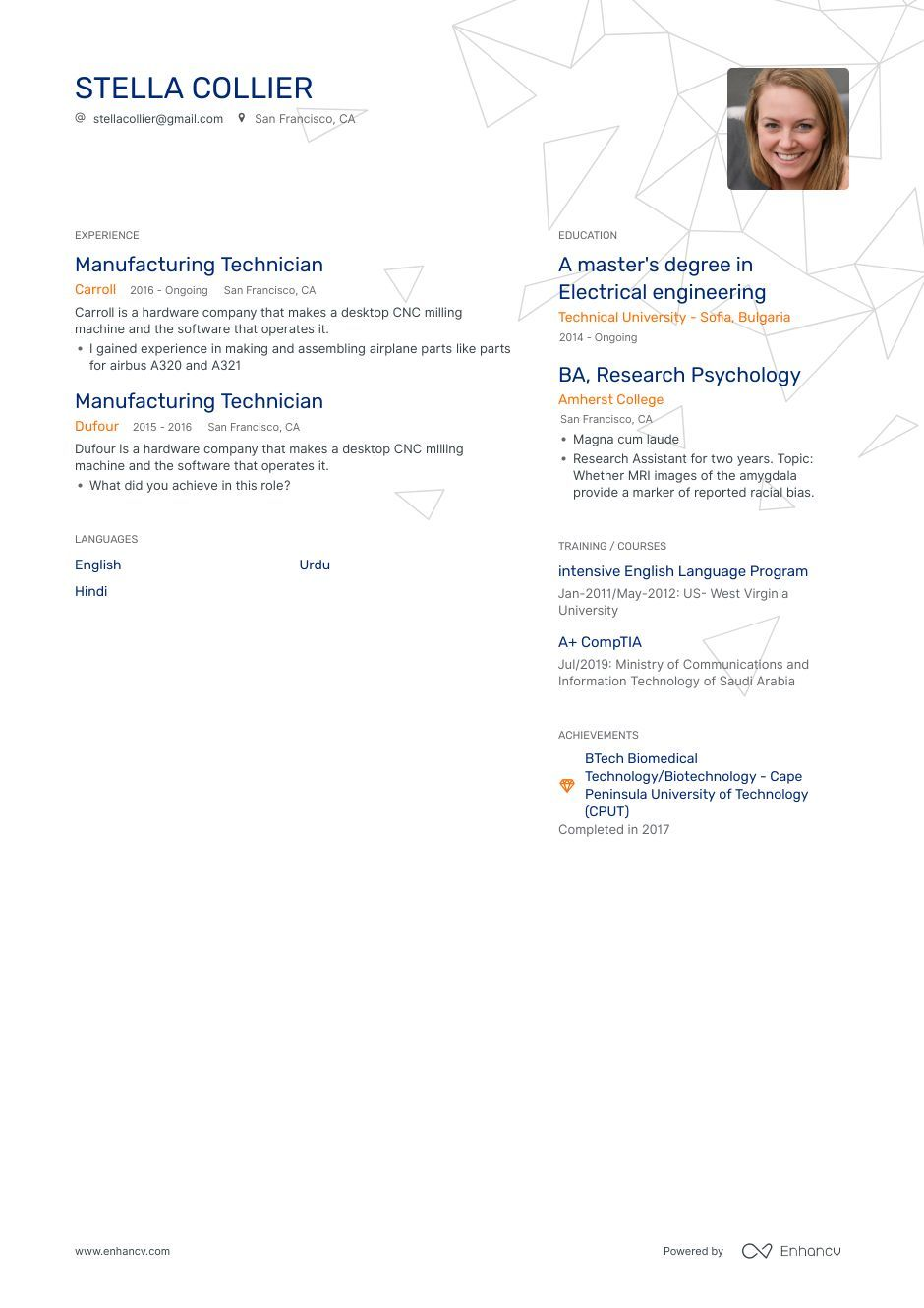 Manufacturing Technician Resume Example And Guide For 2019 Resume Examples Resume Technician