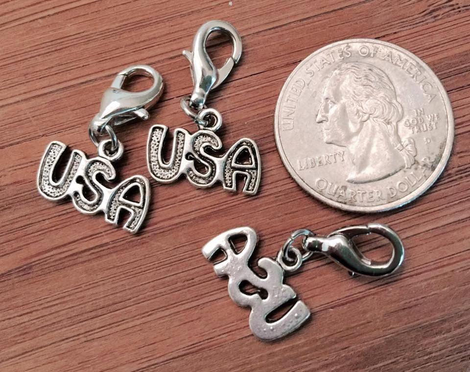 3 pcs ~ USA antique silver tone charms ready to hang with lobster clasps by BuildUrBling on Etsy