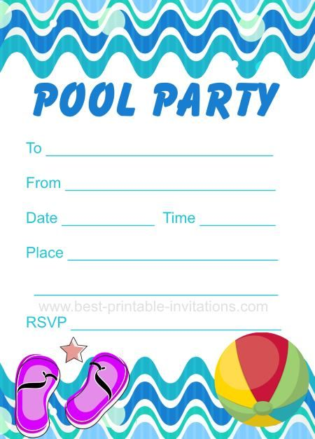 Pool Party Invitation Free printable party invites from best – Party Invitations for Free