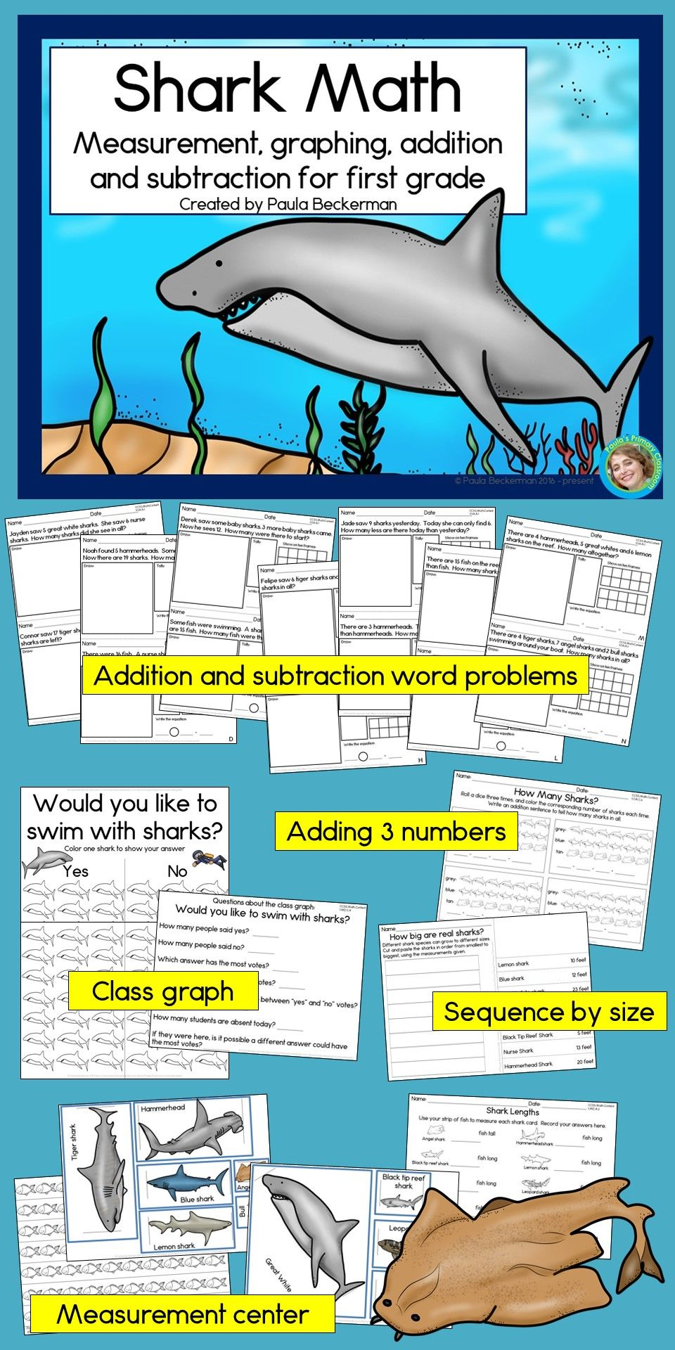 Shark Math for First Grade (measurement, graphing, addition ...
